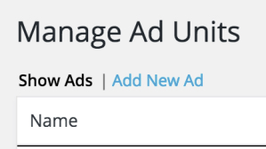 Manage Ad Units